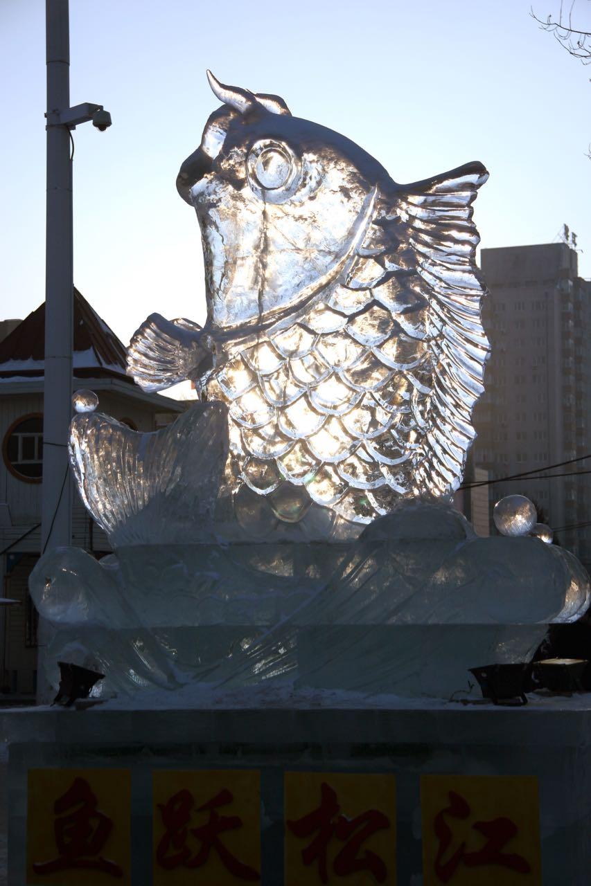 Ice sculpture in downtown Harbin, Elijah Wilcott, 2008