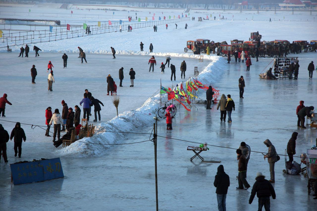 Frozen river in downtown Harbin, Elijah Wilcott, 2008